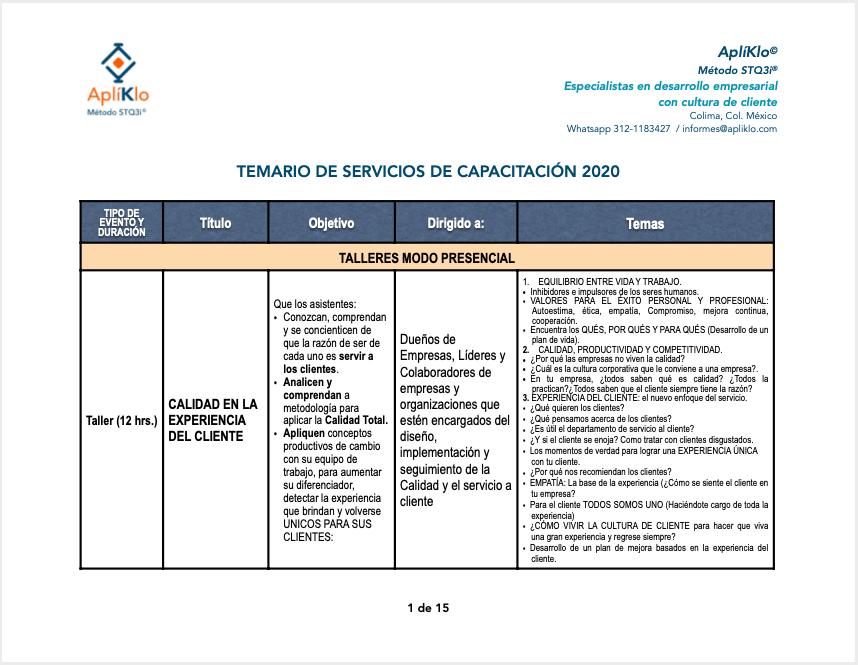 CATALOGO DE CONFERENCIAS Y CURSOS